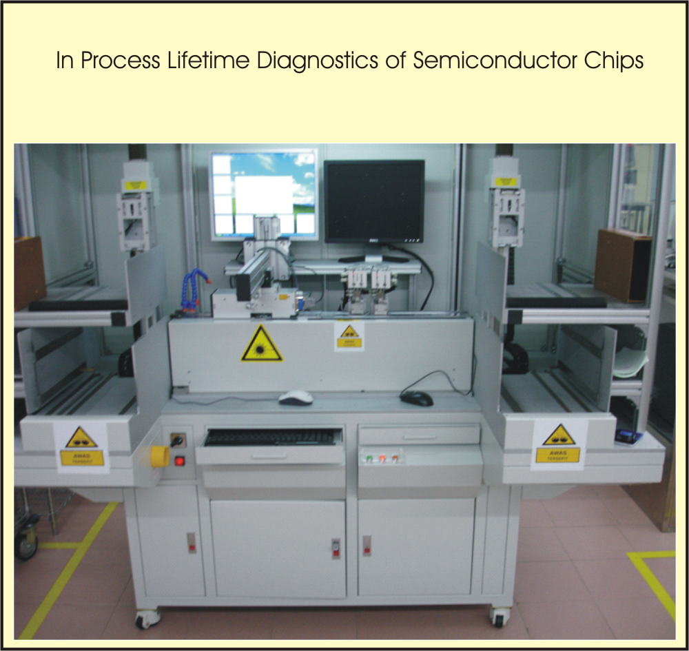 The instrument is used to measure the size of dendrites on rough metallic surfaces. The size of dendrites is between 0.5 and 3 nanometer. Semiconductor chips are sorted into 4 qualities depending on the size and refractive index of the dendrites. Direct after measurement semiconductor chips with unacceptable lifetime prognosis are stamped out.